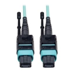 MTP/MPO Patch Cable with Push/Pull Tabs, 12 Fiber, 40GbE, 40GBASE-SR4, OM3 Plenum-Rated - Aqua, 3M (10-ft.)