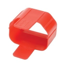 Plug-lock Inserts keep C14 power cords solidly connected to C13 outlets, RED color, Package of 100