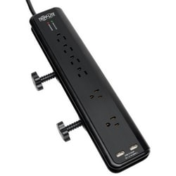 Protect It! 6-Outlet Clamp-Mount Surge Protector, 6-ft. Cord, 2100 Joules, 2 x USB Charging ports (2.1A total)