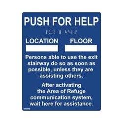 Espace de Refuge signe, Tactile Braille bleu et signe la lettre relief