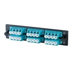 6-LC Quad (24 fibers) multimode aqua adapters with ceramic alignment sleeves