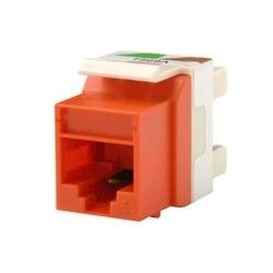Category 5e Keystone jack, 8-position, 180 degree exit, icon compatible, T568A/B wiring, Orange. Package of 25.