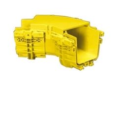 "4"" X 6"" 45 Deg Horizontal Elbow 2 Junctions, Fiberguide Yellow, Snap-On Cover"