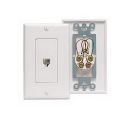 Wall Plate, Decora, Telephone, 6-Position 4-Conductor, Light Almond
