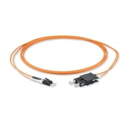 LC Duplex to SC Duplex patch cord on 2-fiber Zipcord cable, with 2 mm legs, and a low-smoke, zero-halogen sheath. 15 m