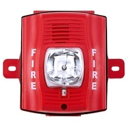 Horn/Strobe, 2-wire, High-candela, Outdoor, Wall Mount, with Backbox, Red