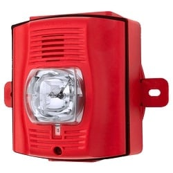 Horn/Strobe, 2-wire, Standard-candela, Outdoor, Wall Mount, with Backbox, Red, Plain