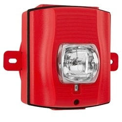 Strobe, High-candela, Outdoor, Wall Mount, with Backbox, Red, Plain