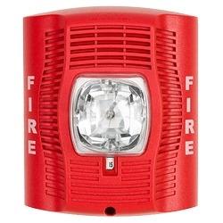 Speaker Strobe, Standard-candela, High-volume, Indoor, Wall Mount, Red