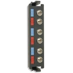 Fiber, Adapter Plate, RIC, 6 Fiber, FC, Flat, Metal Adapter, Black Housing, Phos Bronze Sleeve