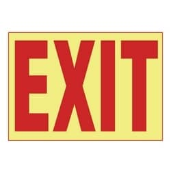 "Adhesive Sign, Photoluminescent, 'EXIT', 10""x7"", 1 Sgn/cd, 1 Cd/pk, RD/WH"