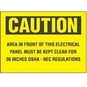 "Adhesive Sign, Polyester, 10"" X 7"", CAUTION HEADER, AREA IN FRONT.., 1 Sgn, BL/YL"