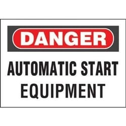 """Adhesive Sign, Polyester, 'danger Automatic ?.', 10""""x7"""", 1sgn/cd, 1 Cd/pk, RB/WH"""