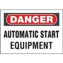 "Adhesive Sign, Polyester, 'danger Automatic ?.', 10""x7"", 1sgn/cd, 1 Cd/pk, RB/WH"