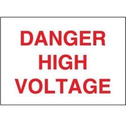 "Non-adh Rigid Sign, Polyethylene, 'danger High Voltage', 14""wx10""h, RD/WH"