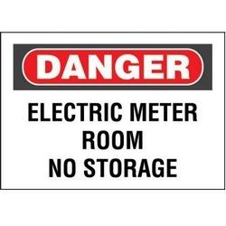 "Non-adh Rigid Sign, Polyethylene, ""Danger Electric Meter..."", 14""wx10""h, RB/WH"