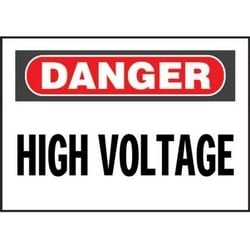 "Non-adh Rigid Sign, Polyethylene, 'danger High Voltage', 14""wx10""h, RB/WH"