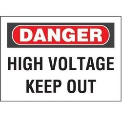"""Panneau rigide non-adh, polyéthylène, «danger haute tension Keep Out», 14"""" wx10"""" h, RB/WH"""