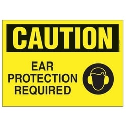 "Polyethylene Sign, 14"" W X 10"" H, CAUTION Header, Legend EAR PROTECTION REQUIRED, Black/yellow, 1/card, 1 Sign/pack."