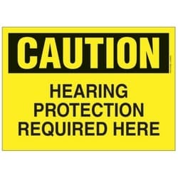 """Polyethylene Sign, 14"""" W X 10"""" H, CAUTION Header, Legend HEARING PROTECTION REQUIRED HERE, Black/yellow, 1/card, 1 Sign/pack."""