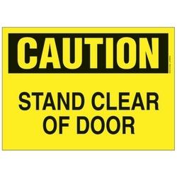 """Signe de polyéthylène, 14"""" W X 10"""" H, attention en-tête, légende STAND clair de porte, noir/jaune, carte, 1/1 signe/pack"""