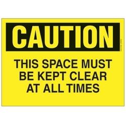 """Polyéthylène signe, 14"""" W X 10"""" H, attention en-tête, légende, cet espace doit être gardé claire en tout temps, noir sur jaune, carte/1, 1 signe/pack."""