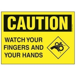 """Polyethylene Sign, 14"""" W X 10"""" H, CAUTION Header, Legend WATCH YOUR FINGERS AND YOUR HANDS, Black/yellow, 1/card, 1 Sign/pack."""