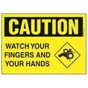 "Polyethylene Sign, 14"" W X 10"" H, CAUTION Header, Legend WATCH YOUR FINGERS AND YOUR HANDS, Black/yellow, 1/card, 1 Sign/pack."