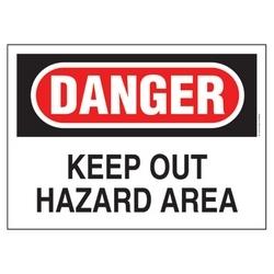 """Polyéthylène signe, 14"""" W X 10"""" H, en-tête DANGER, garder hors danger zone de légende, rouge et noir/blanc, carte/1, 1 signe/pack."""
