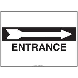 """Signe de polyéthylène, 14"""" W X 10"""" H, sans en-tête, légende entrée W/tour droite flèche, noir/blanc, carte/1, 1 signe/pack."""