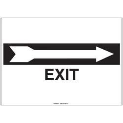 """Polyethylene Sign, 14"""" W X 10"""" H, No Header, Legend EXIT W/right-turn Arrow, Black/white, 1/card, 1 Sign/pack"""