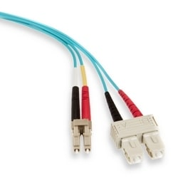 50/125UM Laser Optimized 10G Duplex Riser-rated Cable, SC To LC Connector Multimode, 3 Meter Length