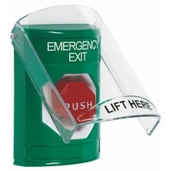 Stopper Station with Stopper Station Shield - Emergency Exit Label