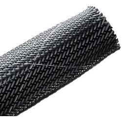 "Flame Retardant Expandable Braided Sleeving, 1.25"" Dia., Black, 50.0 ft/Standard Reel"