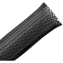 "Polyamide (PA66) Monofilament Expandable Braided Sleeving, 0.75"" Dia., Black, 250.0 ft/Bulk Reel"