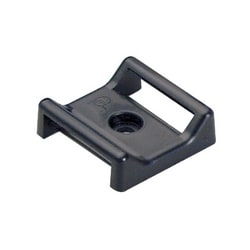 "Cable Tie Mount, Adhesive, 1.12""x1.12"" (28.5mm x 28.5mm), Black, Pack of 25"