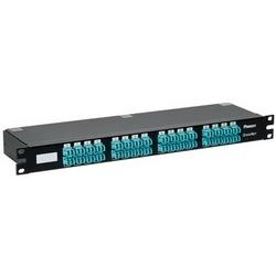 OM3 64-fibre, Brocade-type étiquetage HDQ Cassette, 1 RU plat profil, perte Standard 8-fibre PSG à LC Duplex, modifié la méthode A; Conversion de paire