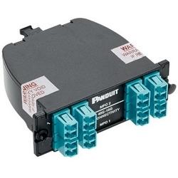 40 et 10G Quicknet Cassette avec OM4 fibre, perte Standard, 16-Fibre Total, avant LC Duplex Aqua adaptateur, Male arrière MTP (NIP); Méthode B connectivité