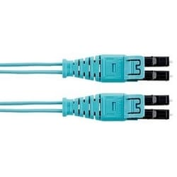 HD Flex Fiber 1.6mm Patchcord, OM4, 2-Fiber, OFNR (Riser), Push/Pull LC to Push/Pull LC, Optimized IL, Aqua Jacket, 17ft