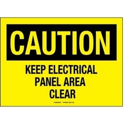 """Adhesive Sign, Polyester, 10"""" X 7"""", CAUTION HEADER, KEEP ELECTRICAL PANEL AREA ..., 1 Sgn, BL/YL"""