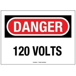 """Panneau adhésif, Polyester, 10 """"X 7"""", DANGER en-tête, '120 VOLTS», signe 1, rouge/noir/blanc"""