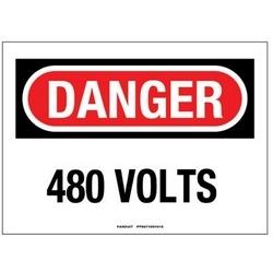 """Panneau adhésif, Polyester, 10 """"X 7"""", DANGER en-tête, '480 VOLTS», signe 1, rouge/noir/blanc"""