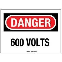 """Panneau adhésif, Polyester, 10 """"X 7"""", DANGER en-tête, '600 VOLTS», signe 1, rouge/noir/blanc"""