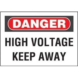 """Panneau d'aluminium, Danger en-tête, «haute tension Keep Away», 14"""" wx10"""" h, rouge et noir/blanc"""