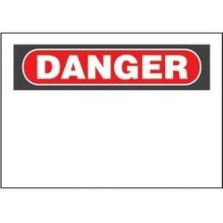 """Panneau adhésif, Polyester, «danger (en-tête uniquement)», 20 """"x 14», 1sgn, Pc/pk 5, RB/WH"""