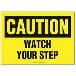 """Polyester adhésif signe, 10"""" W X 7"""" H, attention en-tête, légende regarder votre étape, noir sur jaune, carte/1, 1 signe/pack."""