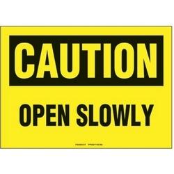 """Signe de polyéthylène, 10"""" W X 7"""" H, attention en-tête, légende ouvrir lentement, noir/jaune, 1/card, signe/pack 1"""