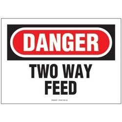 """Adhésive signe, Poly, DANGER Hdr, deux manière nourrir, 7"""" W X 10"""" H, 1/cd, Cd/pk 1, rouge et noir/blanc."""