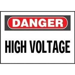 """Non-adh rigide Sign, polyéthylène, «danger haute tension», 10"""" wx7"""" h, RB/WH"""