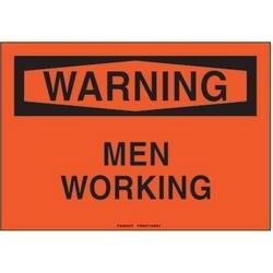 """Polyethylene Sign, 10"""" W X 7"""" H, WARNING Header, Legend MEN WORKING, Black/orange, 1/card, 1 Sign/pack."""